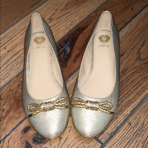 Gold Shimmer Vince Camuto Flats with Bows